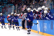 Hilary Knight #21 of the United States celebrates with teammates after scoring a goal in the first period against Canada during the Women's Gold Medal Game on day thirteen of the PyeongChang 2018 Winter Olympic Games at Gangneung Hockey Centre on February 22, 2018 in Gangneung, South Korea.