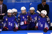 Hilary Knight #21 of the United States looks on from the bench after scoring a goal against Canada in the first period during the Women's Gold Medal Game on day thirteen of the PyeongChang 2018 Winter Olympic Games at Gangneung Hockey Centre on February 22, 2018 in Gangneung, South Korea.