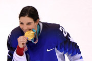 Gold medal winner Hilary Knight #21 of the United States celebrates during the victory ceremony after defeating Canada in a shootout in the Women's Gold Medal Game on day thirteen of the PyeongChang 2018 Winter Olympic Games at Gangneung Hockey Centre on February 22, 2018 in Gangneung, South Korea.