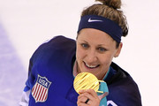 Gold medal winner Meghan Duggan #10 of the United States celebrates during the victory ceremony after defeating Canada in a shootout in the Women's Gold Medal Game on day thirteen of the PyeongChang 2018 Winter Olympic Games at Gangneung Hockey Centre on February 22, 2018 in Gangneung, South Korea.