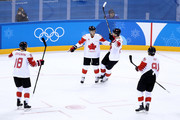 Marc-Andre Gragnani #18, Mat Robinson #37, Mason Raymond #21 and Linden Vey #91 of Canada celebrate after a goal in the first period against Czech Republic during the Men's Bronze Medal Game on day fifteen of the PyeongChang 2018 Winter Olympic Games at Gangneung Hockey Centre on February 24, 2018 in Gangneung, South Korea.
