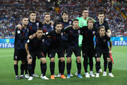 The Croatia team line up prior to the 2018 FIFA World Cup Russia group D match between Iceland and Croatia at Rostov Arena on June 26, 2018 in Rostov-on-Don, Russia.