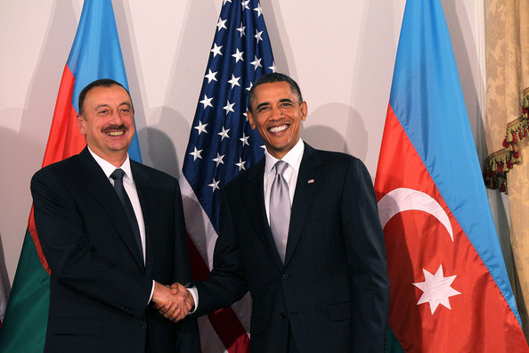Ilham Aliyev (AFP OUT)  U.S. President Barack Obama (R) shakes hands with President Ilham Aliyev of Azerbaijan at a bilateral meeting September 24, 2010 in New York City. Obama has been in New York since Wednesday attending the annual General Assembly at the United Nations, where yesterday he stressed the need for a resolution between Israel and Palestine, and a renewed international effort to keep Iran from attaining nuclear weapons.