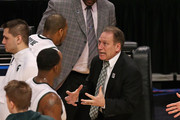 Head coach Tom Izzo of the Michigan State Spartans yells at Adreian Payne #5 during a quarterfinal game of the Big Ten Basketball Tournament against the Iowa Hawkeyes at the United Center on March 15, 2013 in Chicago, Illinois. Michigan State defeats Iowa 59-56.
