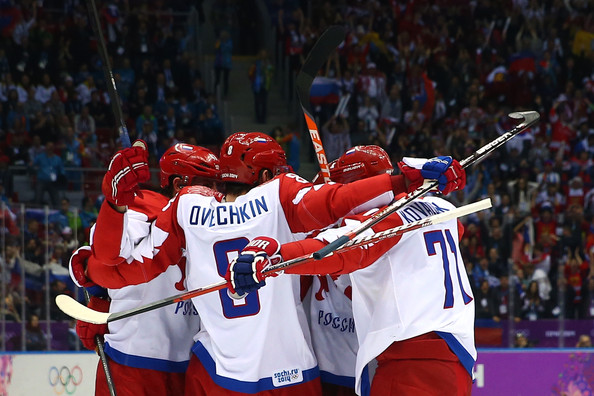 Ice Hockey - Winter Olympics Day 8 [player,sports,team sport,ball game,college ice hockey,stick and ball games,hockey,ice hockey,tournament,sports gear,alexander ovechkin 8,teammates,ilya kovalchuk,pavel datsyuk,ice hockey,goal,russia,united states,winter olympics,sochi 2014 winter olympics]