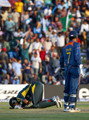 Shoaib Malik of Pakistan kisses the ground after reaching his century during the ICC Champions Trophy group A match between India and Pakistan at Centurion on September 26, 2009 in Centurion, South Africa.