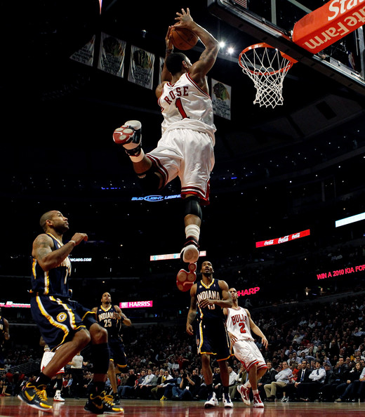 chicago bulls hat with horns. derrick rose dunking on pacers