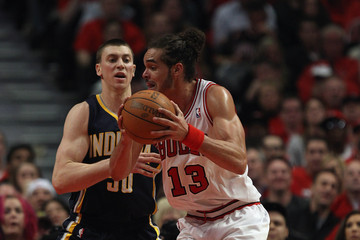 Joakim Noah Tyler Hansbrough Indiana Pacers v Chicago Bulls - Game Two