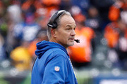 Chuck Pagano the head coach of the Indianapolis Colts watches the  action against the Cincinnati Bengals at Paul Brown Stadium on October 29, 2017 in Cincinnati, Ohio.