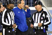 Head coach Chuck Pagano of the Indianapolis Colts speaks to officials while a fourth down play is reviewed in the second half of a 36-22 loss to the Tennessee Titans at Nissan Stadium on October 16, 2017 in Nashville, Tennessee.