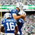 Andrew Luck Photos - Tight end Erik Swoope #86 of the Indianapolis Colts celebrates with teammate quarterback Andrew Luck #12 after scoring a touchdown against the New York Jets during the fourth quarter at MetLife Stadium on October 14, 2018 in East Rutherford, New Jersey. - Indianapolis Colts vs. New York Jets