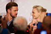 Actor Justin Timberlake (L) and actress Carey Mulligan attend the 'Inside Llewyn Davis' Press Conference during The 66th Annual Cannes Film Festival at Palais des Festivals on May 19, 2013 in Cannes, France.