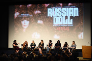 "(L-R) Jenelle Riley, Natasha Lyonne, Amy Poehler, Leslye Headland, Allison Silverman, Jocelyn Bioh, Cirocco Dunlap and Flora Birnbaum attend the Inside The Writer's Room of Netflix's ""Russian Doll"" panel event at the Writers Guild Theater on June 05, 2019 in Beverly Hills, California."