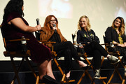 "(L-R) Jenelle Riley, Natasha Lyonne, Amy Poehler and Leslye Headland attend the Inside The Writer's Room of Netflix's ""Russian Doll"" panel event at the Writers Guild Theater on June 05, 2019 in Beverly Hills, California."