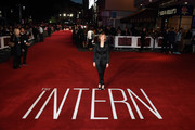 """Nancy Meyers attends the UK Premiere of """"The Intern"""" at Vue West End on September 27, 2015 in London, England."""