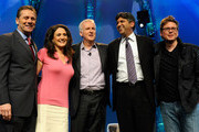 (L-R) President & CEO of CTIA - The Wireless Association Steve Largent, CNBC anchor and reporter Michelle Caruso-Cabrera, film director James Cameron, Chief Technology Officer of the United States Aneesh Chopra and Twitter co-founder Biz Stone pose for photos after a round-table discussion at the International CTIA Wireless 2010 convention at the Las Vegas Convention Center March 25, 2010 in Las Vegas, Nevada. CTIA is the international association for the wireless telecommunications industry.