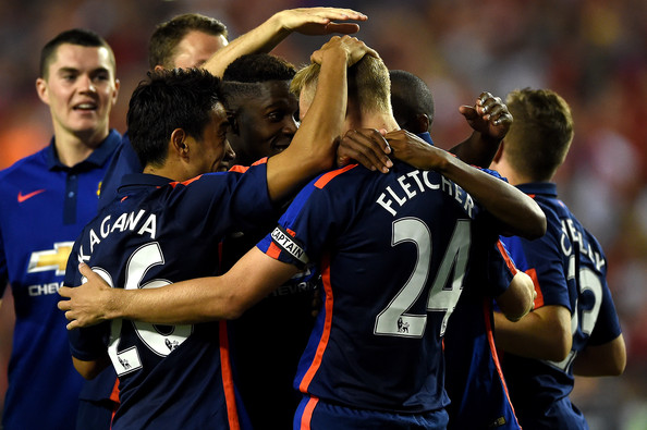 Darren Fletcher #24 of Manchester United celebrates with teammates after scoring the game-winning goal in penalty shootouts against Inter Milan during their match in the International Champions Cup 2014 at FedExField on July 29, 2014 in Landover, Maryland. Manchester United won, 5-3, in a penalty shootout.