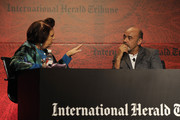 Suzy Menkes and  Christian Louboutin speaks at the International Herald Tribune's Luxury Business Conference at Hotel Unique on November 10, 2011 in Sao Paulo, Brazil.