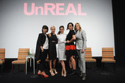 (L-R) Constance Zimmer, Marti Noxon, Shiri Appleby, Sarah Gertrude Shapiro and Nina Lederman pose onstage at the international press event for UnREAL on April 29, 2015 in New York City.