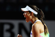 Ana Ivanovic of Serbia celebrates a point during her match against Anastasia Pavlyuchenkova of Russia during day two of The Internazionali BNL d'Italia 2016 on May 09, 2016 in Rome, Italy.