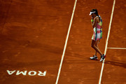 Ana Ivanovic of Serbia celebrates reacts during her match against Anastasia Pavlychenkova of Russia on Day Two of The Internazionali BNL d'Italia 2016 on May 09, 2016 in Rome, Italy.