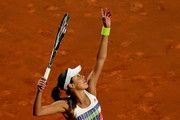 Ana Ivanovic of Serbia serves in her match against Anastasia Pavlychenkova of Russia on Day Two of The Internazionali BNL d'Italia 2016 on May 09, 2016 in Rome, Italy.