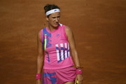 Victoria Azarenka of Belarus looks on in her quarter-final match against Garbine Muguruza of Spain during day six of the Internazionali BNL d'Italia at Foro Italico on September 19, 2020 in Rome, Italy.