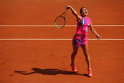 Simona Halep of Romania serves in her quarter-final match against Yulia Putintseva of Kazakhstan during day six of the Internazionali BNL d'Italia at Foro Italico on September 19, 2020 in Rome, Italy.