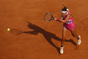 Victoria Azarenka of Belarus plays a backhand in her round one match against Venus Williams of The United States during day three of the Internazionali BNL d'Italia at Foro Italico on September 16, 2020 in Rome, Italy.