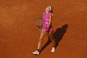 Victoria Azarenka of Belarus reacts in her round one match against Venus Williams of The United States during day three of the Internazionali BNL d'Italia at Foro Italico on September 16, 2020 in Rome, Italy.