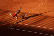 Angelique Kerber of Germany plays a backhand in their ladies singles third round match against Jesena Ostapenko of Latvia during Day Six of the Internazionali BNL D'Italia 2021 at Foro Italico on May 13, 2021 in Rome, Italy. Sporting stadiums around Italy remain under strict restrictions due to the Coronavirus Pandemic as Government social distancing laws prohibit fans inside venues resulting in games being played behind closed doors.