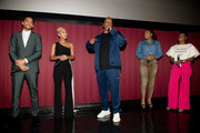 """(L-R) Michael Ealy, Meagan Good, Deon Taylor, Trina Braxton, and Rashan Ali on stage during the introduction to """"The Intruder"""" Atlanta at Regal Atlantic Station on April 22, 2019 in Atlanta, Georgia."""