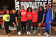"""Actor Michael Ealy (C), actress Meagan Good (C),  and director Deon Taylor (L) pose with Clark Atlanta University student leaders during """"The Intruder"""" Clark Atlanta University Spring Fest 2019 at Clark Atlanta University Student Center on April 23, 2019 in Atlanta, Georgia."""