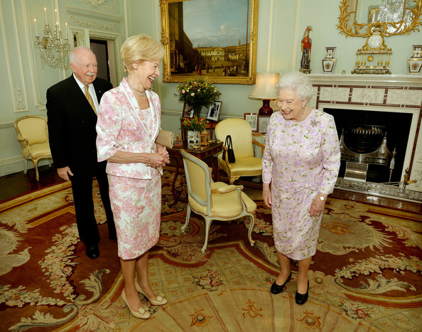 Dame Quentin Bryce, the outgoing Governor General of Australia, during a private audience with Queen Elizabeth II where she presents the Insignia of Dame of the Order of Australia, watched by husband Michael Bryce at Buckingham Palace on July 22, 2014 in London, England.