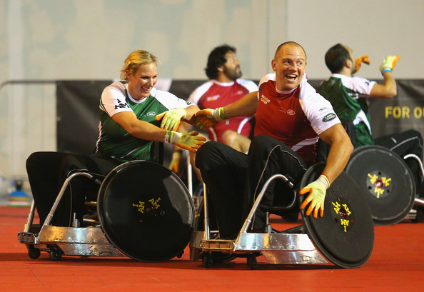 (STRICTLY EMBARGOED FOR PUBLICATION UNTIL 7PM BST) Zara Tindall challenges Mike Tindall during a training session for the Jaguar Land Rover Exhibition Wheelchair Rugby Match on day 2 of the Invictus Games, presented by Jaguar Land Rover at Queen Elizabeth Olympic Park on September 12, 2014 in London, England.