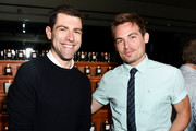 Max Greenfield and Kevin Zegers attend Ira and Bill DeWitt's Saint candle launch benefiting St. Jude Children's Research Hospital at Mr. Chow on June 12, 2019 in Beverly Hills, California.
