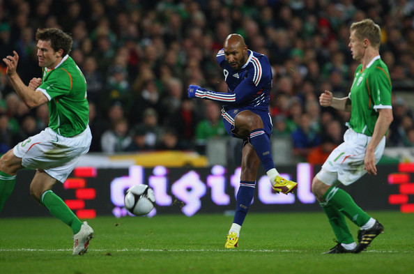 France forward Nicolas Anelka gets in a shot at goal during the  FIFA 2010 World Cup Qualifier play off first leg between Republic of Ireland and France at Croke Park   on November 14, 2009 in Dublin, Ireland.
