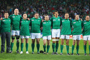 (L-R) Captain Brian O?Driscoll of Ireland looks on during their national anthem during the IRB 2011 Rugby World Cup Pool C match between Ireland and the USA on September 11, 2011 in New Plymouth, New Zealand.