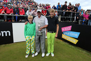 Darren Clarke of Northern Ireland with his sons Tyrone Clarke (l) and Conor Clarke (r) on the 1st tee during the pro-am for the 2012 Irish Open held on the Dunluce Links at at Royal Portrush Golf Club on June 27, 2012 in Portrush, Northern Ireland.