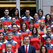 Isabel Fernandez King Felipe VI of Spain Attends a Meeting With Atlethes and Members of The COE