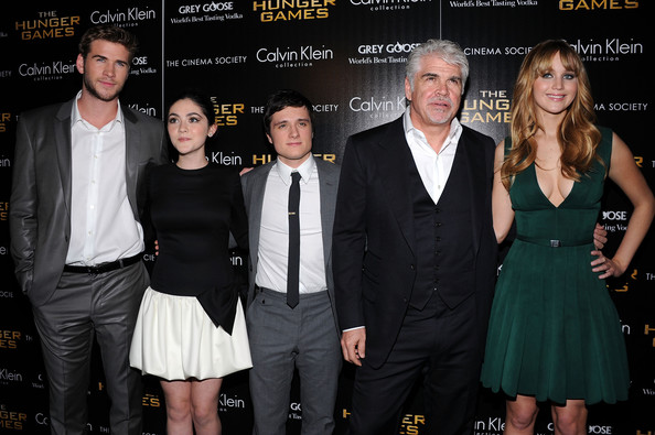 "Isabelle Fuhrman (L-R) Liam Hemsworth, Isabelle Fuhrman, Josh Hutcherson, Director Gary Ross and Jennifer Lawrence attends the Cinema Society & Calvin Klein Collection screening of ""The Hunger Games"" at SVA Theatre on March 20, 2012 in New York City."
