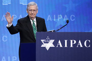 Senate Majority Leader Mitch McConnell (R-KY) addresses the American Israel Public Affairs Committee's annual policy conference at the Washington Convention Center March 6, 2018 in Washington, DC. With thousands of delegates and attendees, the annual AIPAC conference is the the largest gathering of the pro-Israel movement in the United States.
