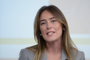 """The Undersecretary to the Presidency of the Council Maria Elena Boschi participates in the press conference at Palazzo Chigi for the presentation of the book """"Doing school. The Government's commitment to improve the educational heritage in Italy"""", on December 19, 2017 in Rome, Italy."""
