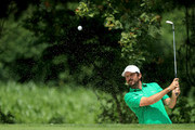 Thomas Aiken of South Africa plays a shot from a bunker on the 2nd holeduring the final round of the Italian Open at Gardagolf Country Club on June 3, 2018 in Brescia, Italy.