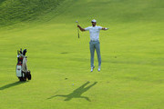 Alvaro Quiros of Spain jumps on the 18th hole as he assesses his shot during day one of the Italian Open at Gardagolf CC on May 31, 2018 in Brescia, Italy.