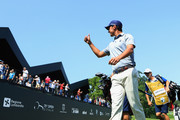 Matteo Manassero of Italy acknowledges the crowd as he walks off the 18th green during day two of the Italian Open at Gardagolf CC on June 1, 2018 in Brescia, Italy.