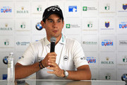 Matteo Manassero of Italy is pictured during a press conference prior to competing in the Pro Am event prior to the start of the Italian Open at Gardagolf Country Club on May 29, 2018 in Brescia, Italy.