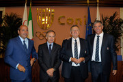 (L-R) Rocco Crimi, President of Coni Giovanni, Petrucci, Italy Rugby President, Giancarlo Dondi, head coach, Nick Mallett and Sergio Parisse pose for a photograph prior to Italy's departure for the 2011 Rugby World Cup in New Zealand on August 31, 2011 in Rome, Italy.