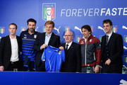 (L-R)  Tim Stedman, Gianluigi Buffon, CEO Puma Bjorn Gulden, President FIGC Carlo Tavecchio, Antonio Conte and General Director FIGC Michele Uva poses during the England press conference at Juventus Arena on March 30, 2015 in Turin, Italy.