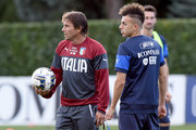 Coach Italy Antonio Conte (L) and Stephan El Shaarawy during Italy Training Session at Coverciano on September 2, 2014 in Florence, Italy.